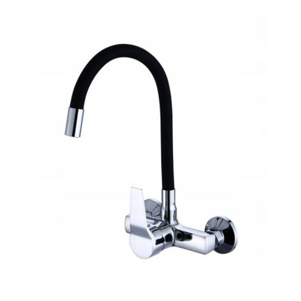 Gamma flexi flexibilis fali mosogató / mosdó csaptelep fekete - króm