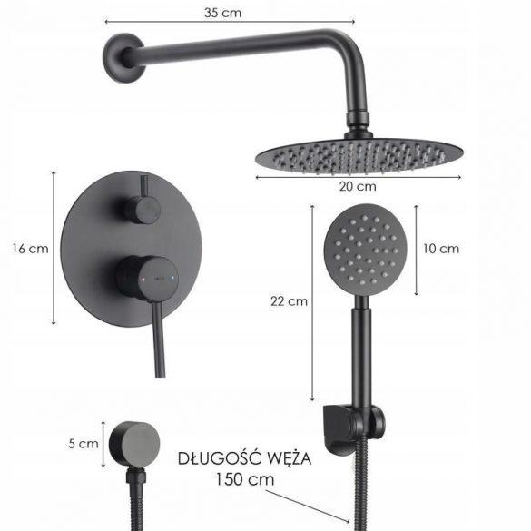 Yoka Studio falsík alatti zuhanyrendszer - fekete