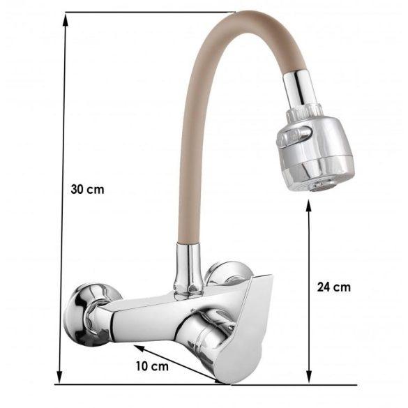 Yoka flexibilis fali mosogató / mosdó csaptelep zuhanyfejjel - bézs / króm