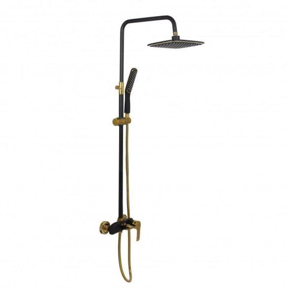 Yoka Roxy 3 funkciós zuhanyrendszer termosztátos csapteleppel - fekete-arany