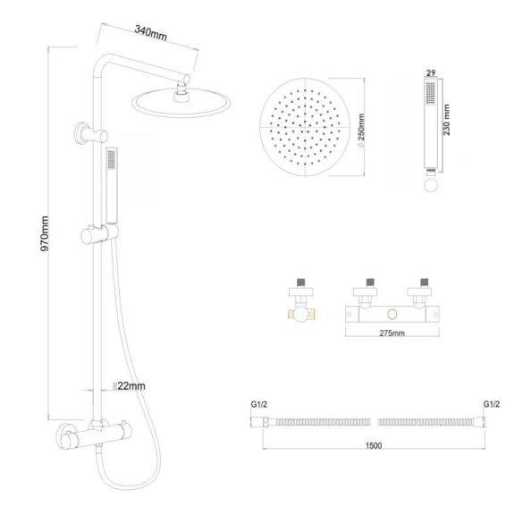 Yoka Ferra zuhanyrendszer termosztátos csapteleppel - fekete
