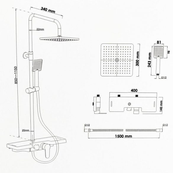 Yoka Oslo zuhanyrendszer - króm