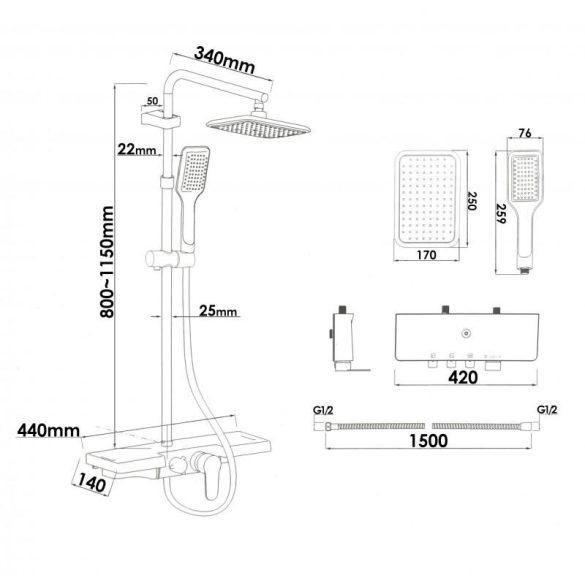 Yoka Decor többfunkciós zuhanyrendszer csapteleppel - fekete