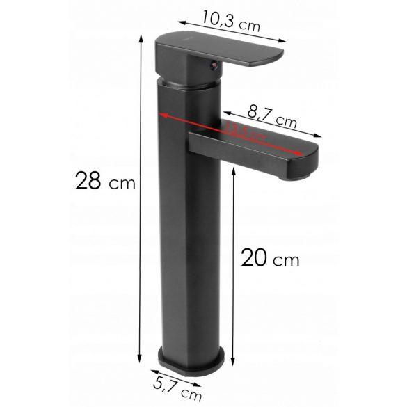 YOKA Garda magasított fürdőszobai mosdó csaptelep - fekete