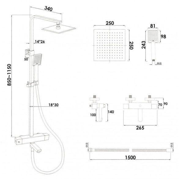 Yoka Capri 3 funkciós zuhanyrendszer termosztátos csapteleppel - fekete