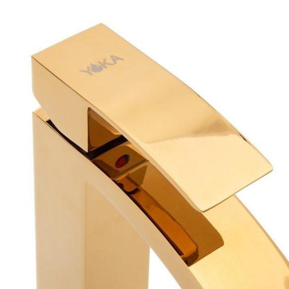 YOKA Spectra magasított fürdőszobai mosdó csaptelep - arany