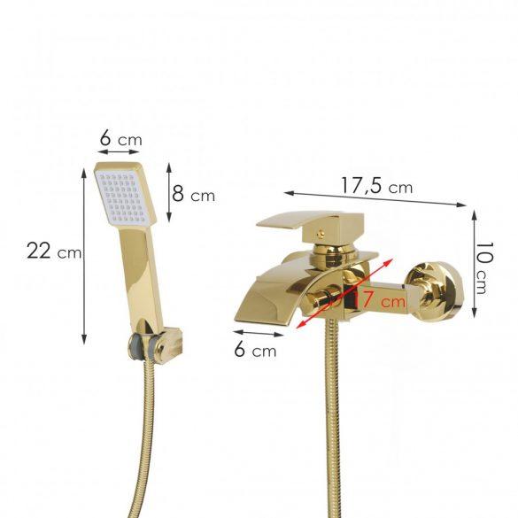 Yoka Niagara kádtöltő csaptelep + zuhanyrózsa - arany