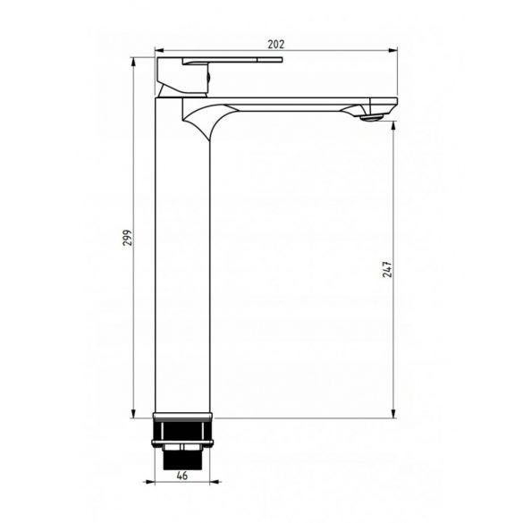 Mexen Milo magasított fürdőszobai mosdó csaptelep - fekete (71310-70)
