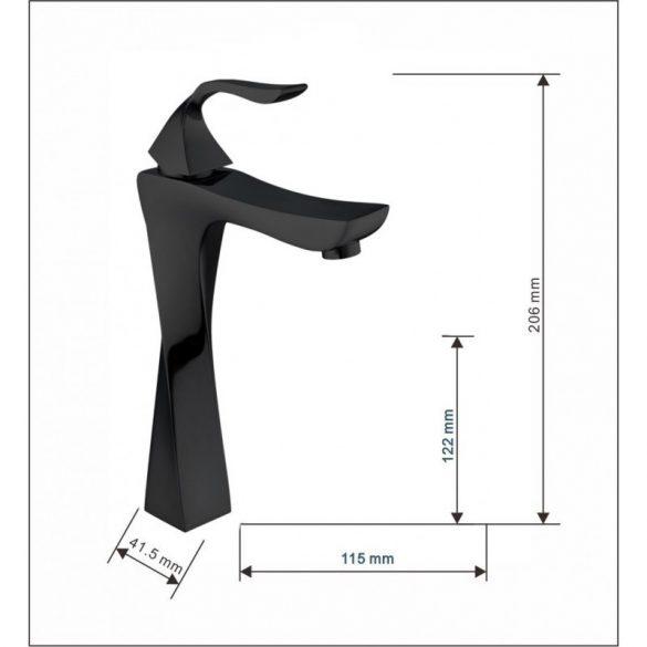 Mexen Estrella magasított fürdőszobai mosdó csaptelep - fekete (72310-70)