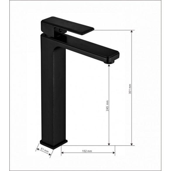 Mexen Mino magasított mosdó csaptelep - matt fekete (72410-70)