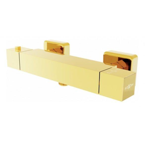 Mexen Cube termosztátos zuhany csaptelep - arany (77200-50)