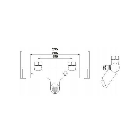 Mexen Kai termosztátos kádtöltő csaptelep - fekete (77300-70)