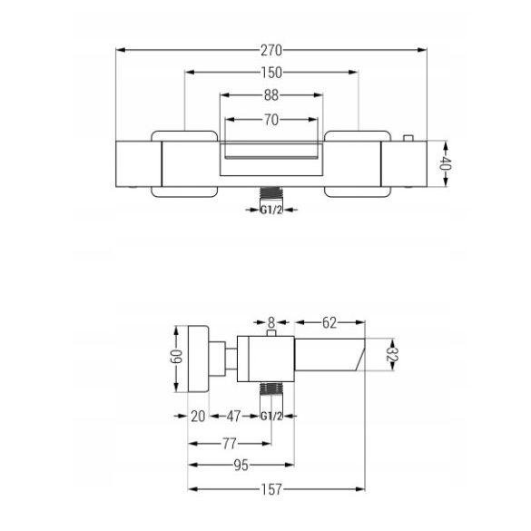 Mexen Cube termosztátos kádtöltő csaptelep - króm (77360-00)