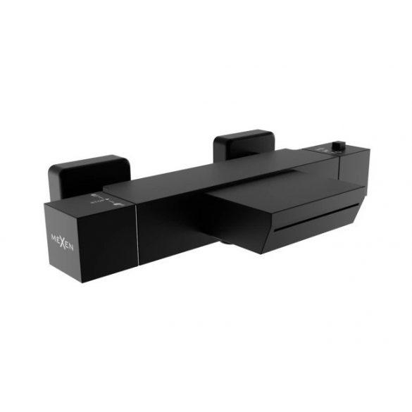 Mexen Cube termosztátos kádtöltő csaptelep - széles kifolyás - fekete (77360-70)