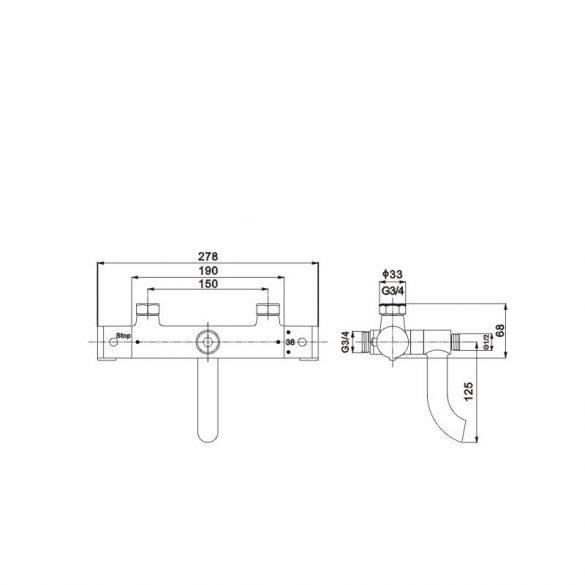 Mexen Kai termosztátos kádtöltő csaptelep (77900-00)