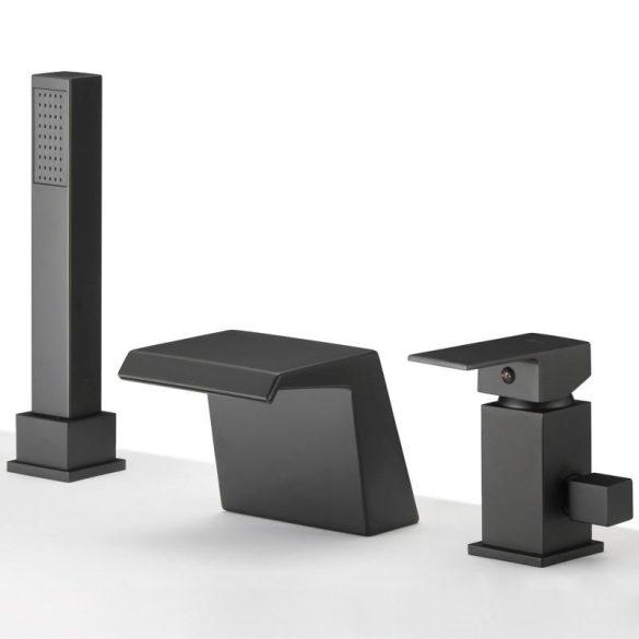 Yoka Home 3in1 kádra szerelhető csaptelep széles kifolyással - fekete