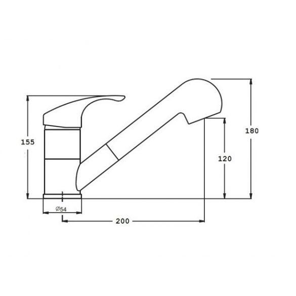 SHOWER gránit mosogató Csaptelep - Zuhanyfejes (bézs)