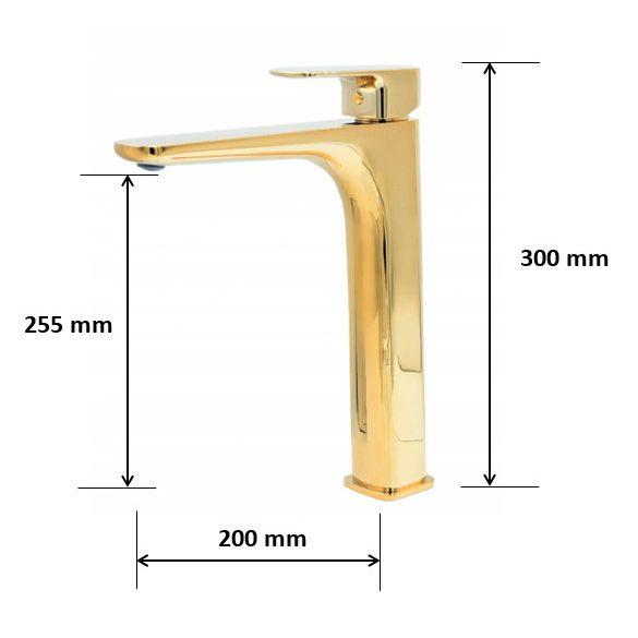 Gamma Cubic magasított mosdó csaptelep - arany