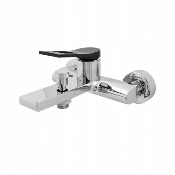 Gamma Riva 3in1 magasított mosdó + kádtölő csaptelep + zuhanyszett - króm / fekete
