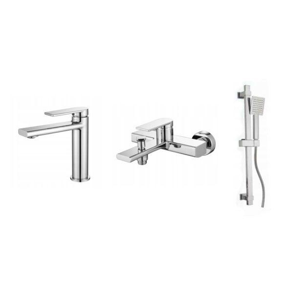 Gamma Rossa 3in1 mosdó + kádtölő csaptelep + zuhanyszett - króm