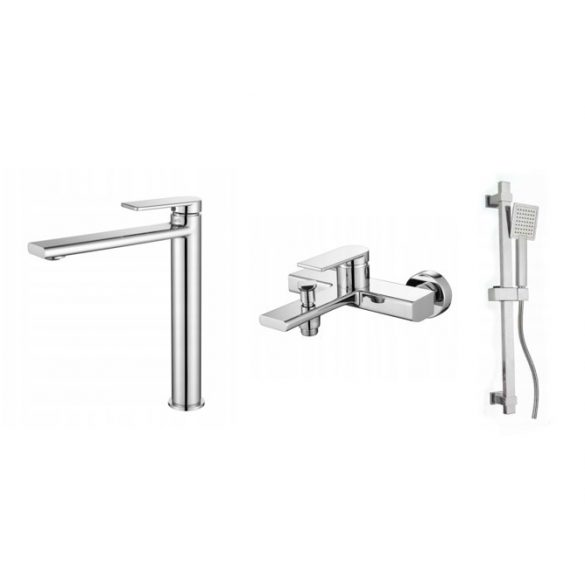 Gamma Rossa 3in1 magasított mosdó + kádtölő csaptelep + zuhanyszett - króm
