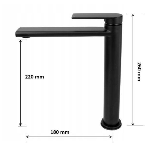 Gamma Rossa 3in1 magasított mosdó + kádtölő csaptelep + zuhanyszett - fekete