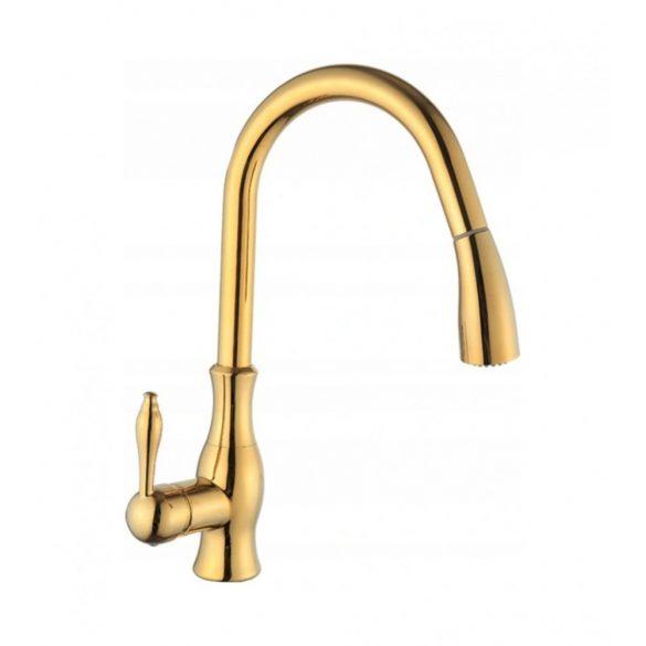 Mexen Savita kihúzható zuhanyfejes mosogató csaptelep - arany (672601-50)