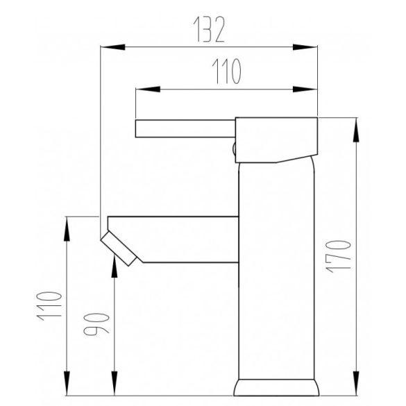 Mexen Lua-2 mosdó csaptelep - fekete (72801-70)
