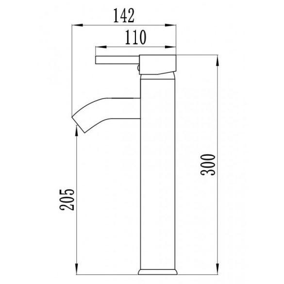 Mexen Lua-2 magasított fürdőszobai mosdó csaptelep - fekete (72810-70)
