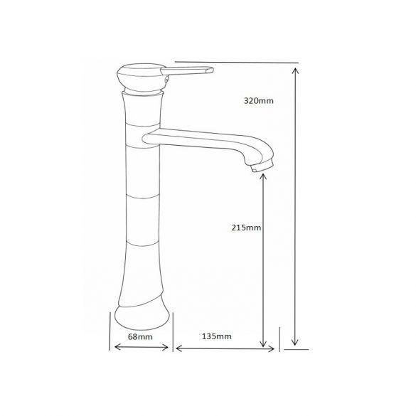 Mexen Rose magasított fürdőszobai mosdó csaptelep - fekete (73310-70)