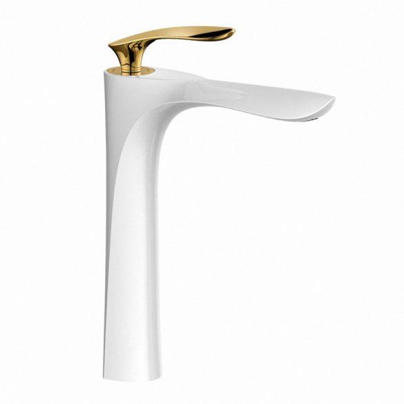 Mexen Lily magasított mosdó csaptelep - fehér / arany (73610-25)