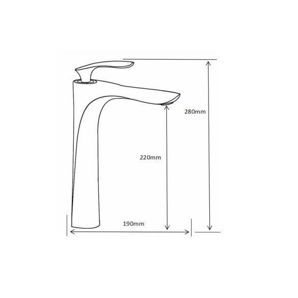 Mexen Lily magasított fürdőszobai mosdó csaptelep - fekete (73610-70)