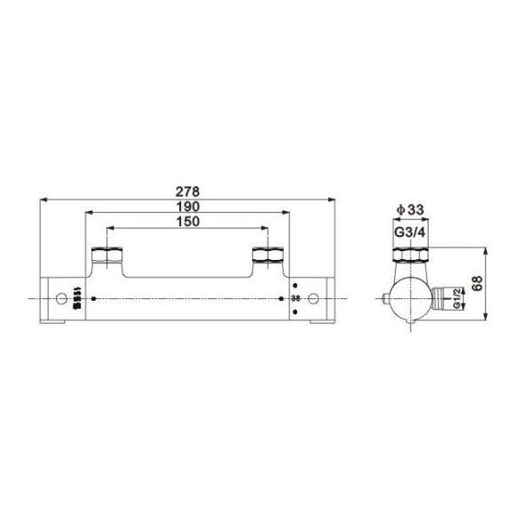 Mexen Kai termosztátos zuhany csaptelep - fekete (77100-70)