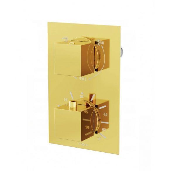 Mexen Cube falsík alatti termosztátos zuhany csaptelep - arany (77502-50)